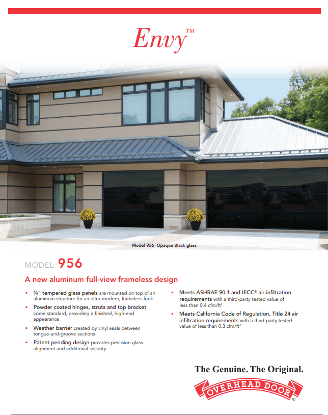 , ENVY Collection Garage Doors, Overhead Door Company of Battle Creek Jackson and Ann Arbor